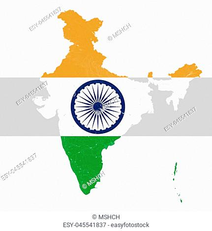 Map of India with rivers and lakes in colors of the national flag of India.. Map consists of separate maps of federal states and union territories that can be...