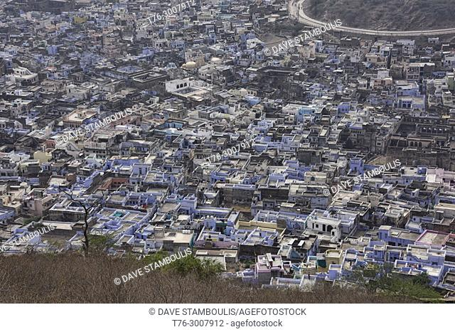 The blue city of Bundi, seen from the Bundi Palace, Rajasthan, India