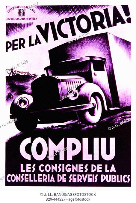Spanish civil war (1936-1939): Per la victoria! Compliu les consignes de la conselleria de serveis públics (Catalan government poster)