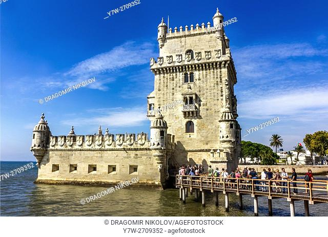 View of Belem Tower on the Tagus River. It is situated in Lisbon, Portugal