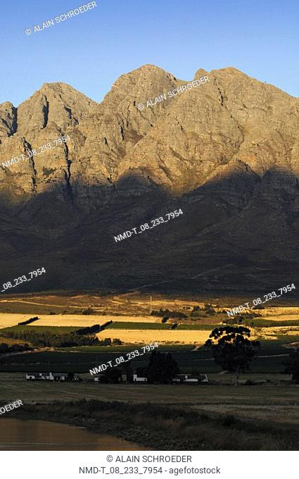 Field in front of a mountain, Worcester, Western Cape Province, South Africa