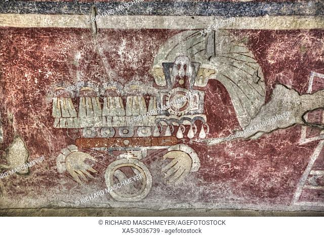 "Wall Mural of the """"Healing Hands"""", Palace of Tetitla, Teotihuacan Archaeological Zone, State of Mexico, Mexico"