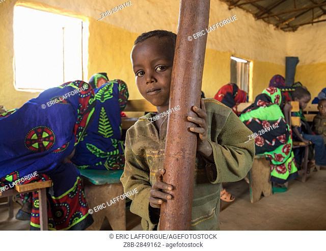Borana child during sunday church service, Oromia, Yabelo, Ethiopia