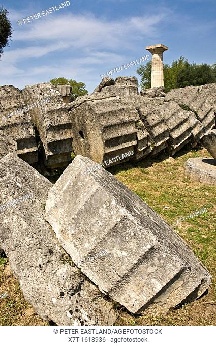 A re erected doric column towers over similar fallen column drums at the Temple of Zeus at ancient Olympia, Peloponnese, Greece