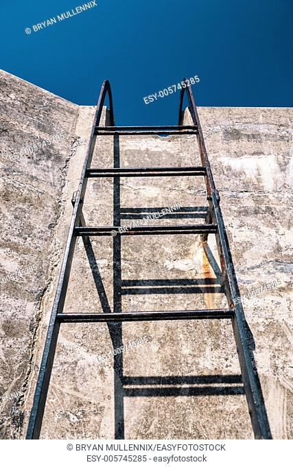 Metal ladder looking up towards the sky, Fort Casey State Park, Whidbey Island, Washington