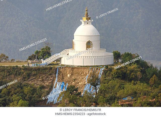 Nepal, Gandaki zone, Pokhara, World Peace stupa (aerial view)