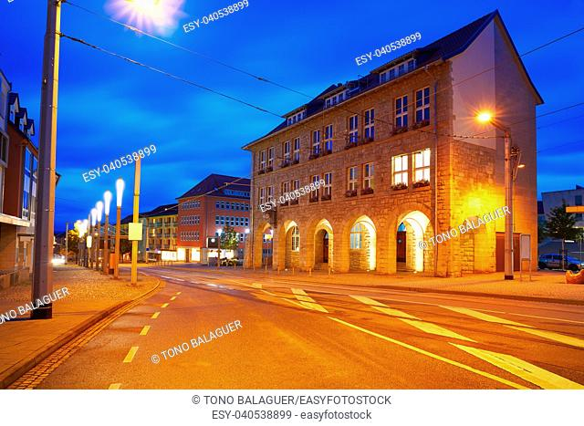 Nordhausen stadthaus at night in Thuringia of Germany