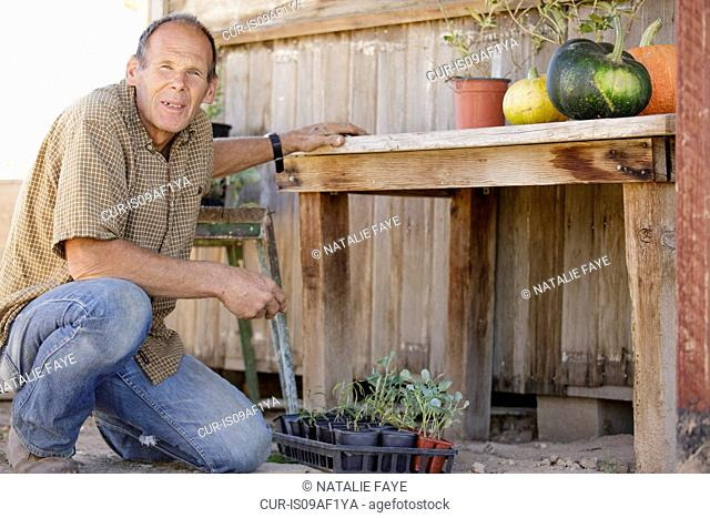 Portrait of farmer outside barn with pumpkins and plants