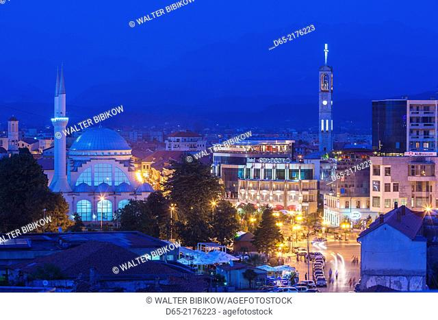 Albania, Shkodra, Dugajte e Reja, New Shops area, El Zamil Mosque, elevated view, dusk