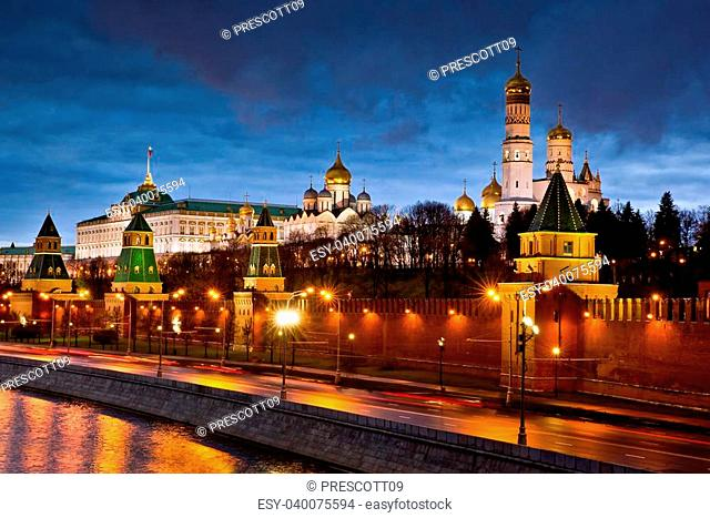 Scenic view of Kremlin illuminated at night with Moskva river, Moscow, Russia