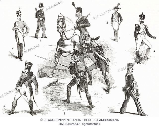 Military uniforms of the Cisalpine Republic 1 Brescia jager, 2 Officers battalion, 3 Italic Legion, jager and artillerymen on horseback