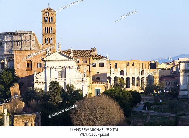 Ancient Rome city skyline with the Roman Forum and the Colosseum. Rome. Lazio. Italy