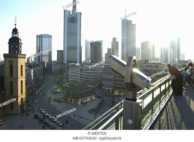 Germany, Hesse, Frankfurt on the Main, view at the city, bank quarter, Zeilgalerie,  Outlook platform, binoculars, back light Series, Europe, city, metropolis