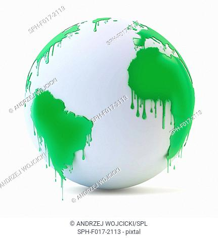 Wet green paint dripping from the globe, illustration