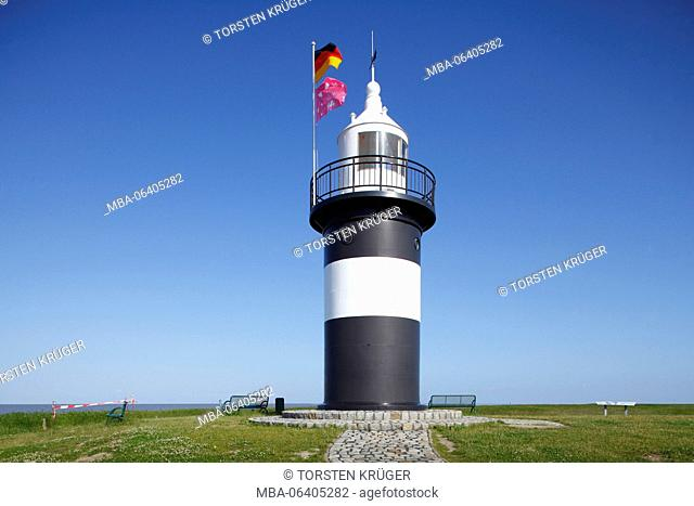 Lighthouse 'Kleiner Preusse' in the cutter harbour of Wremen, Lower Saxony, Germany, Europe