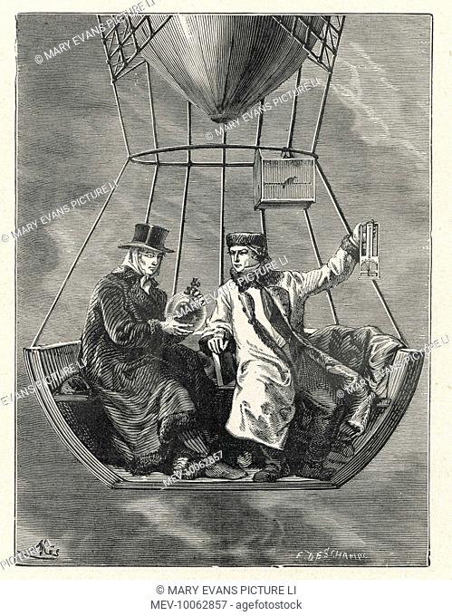 French scientists GAY-LUSSAC and BIOT conduct scientific observations in a balloon at 4000 metres altitude ; later they went even higher, up to 6500 metres