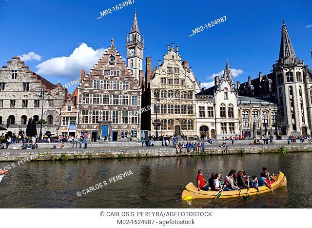 Guild Houses & Leie River, Ghent, Western Flanders, Belgium