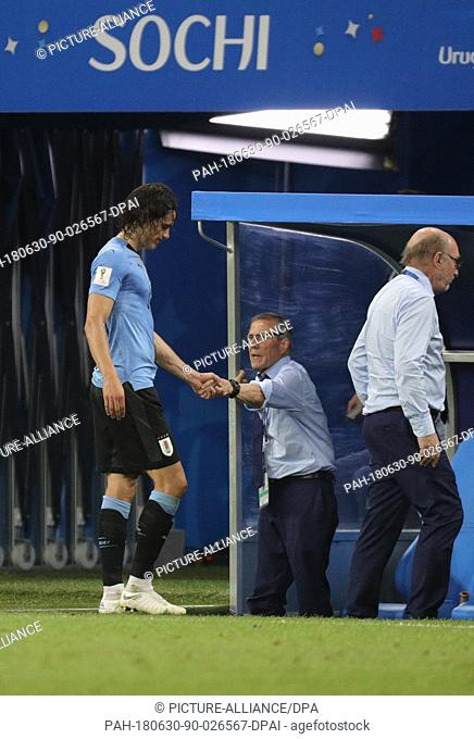 30 June 2018, Russia, Sochi: Football World Cup, Uruguay vs Portugal at the Fisht Stadium. Edinson Cavani (l) of Uruguay leaves the pitch injured and shakes...