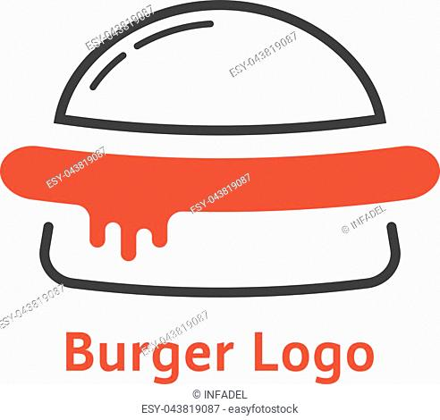thin line burger logo with red sauce. concept of cuisine badge, unhealthy junk food, slice, sausage, serving. flat style trend modern brand graphic design...