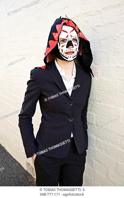 Young woman wearing mask, Melbourne, Victoria, Australia