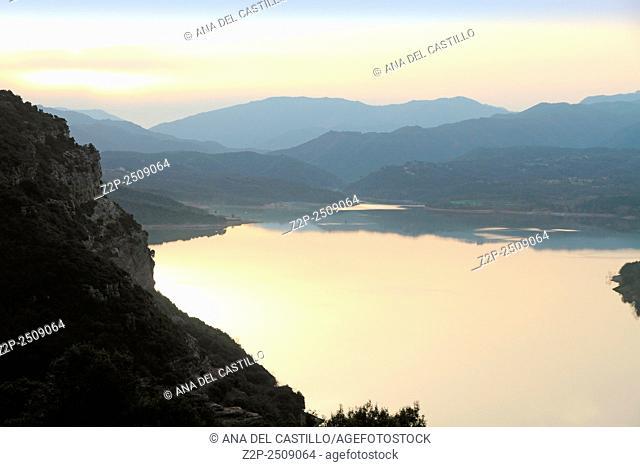 Nature landscape of Sau reservoir in Barcelona province from Vic Sau parador hotel Spain. Sunset