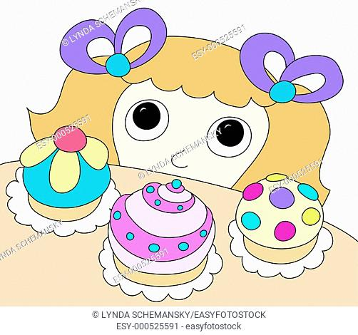 Young girl looking at cupcakes on counter top