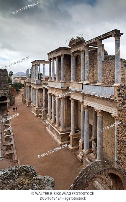Spain, Extremadura Region, Badajoz Province, Merida, ruins of the Teatro Romano, Roman Theater, 24 BC