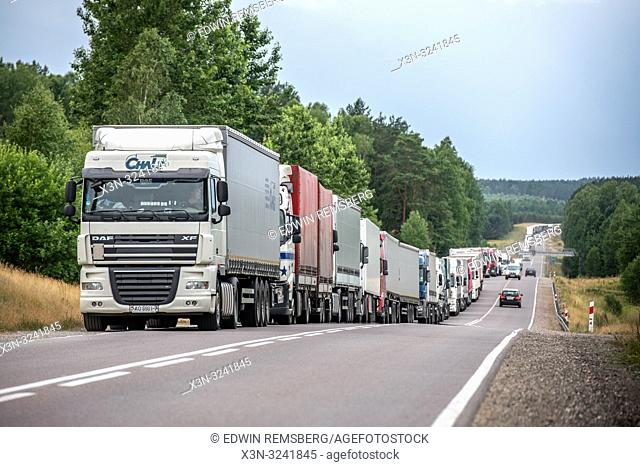 Commercial trucks waiting for customs to cross the border from Poland to the non European Union country of Belarus,Bialystok, Poland