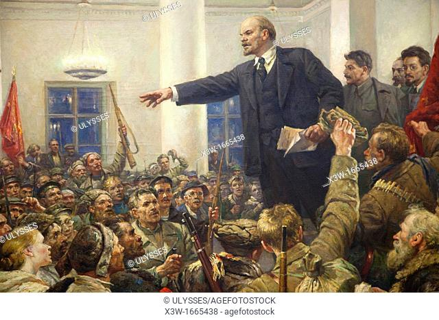 painting, lenin speaks for the revolution of october 1917, lenin museum, tampere, finland, europe