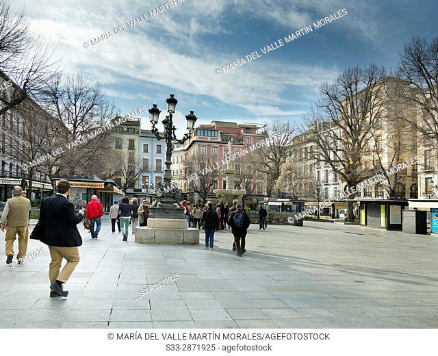 Bib-Rambla square in Granada. Andalucia. Spain. Europe
