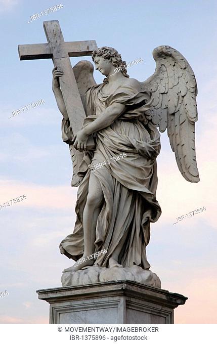Angel statue on Ponte Sant'Angelo, Angel's Bridge, in evening light, Rome, Italy, Europe