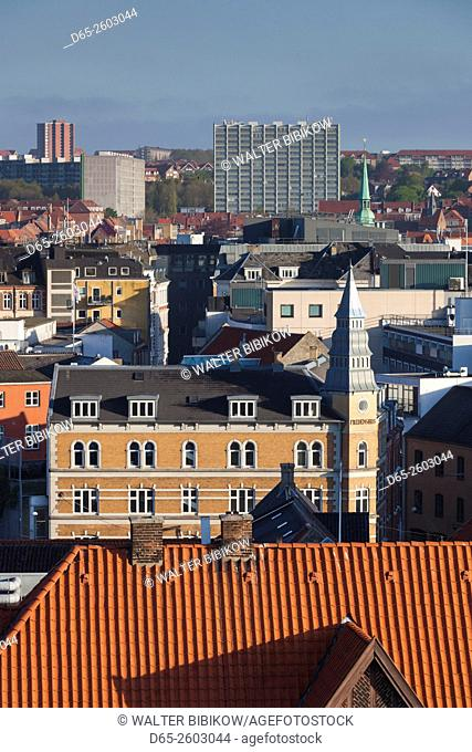 Denmark, Jutland, Aarhus, elevated city view
