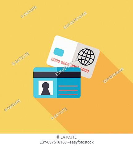 credit card flat icon with long shadow,eps10