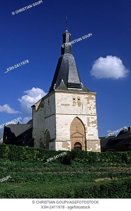 fortified church in the village of Dohis in the Thierache region, Aisne department, Picardy region, northern France, Europe
