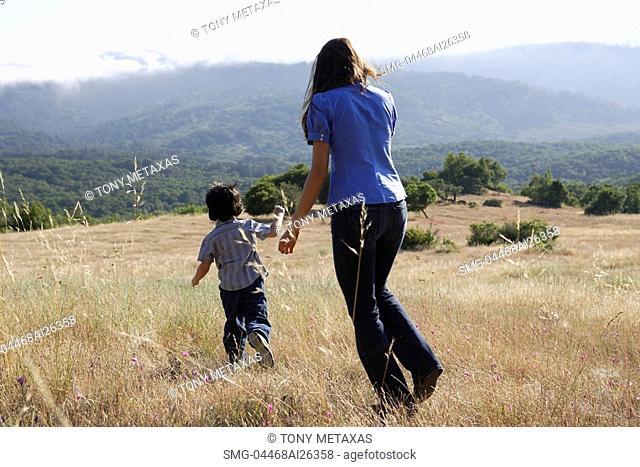 Woman chasing boy
