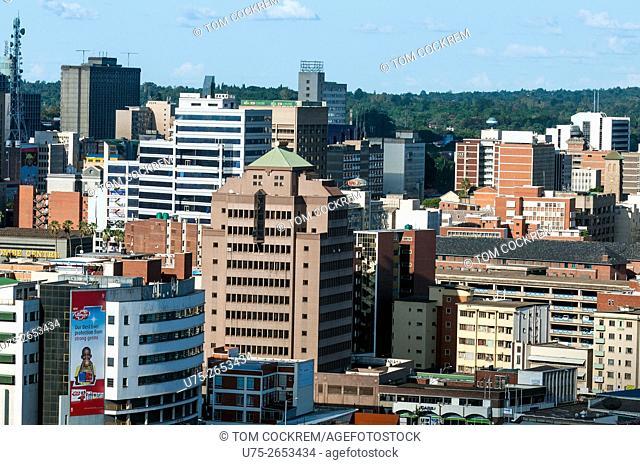 Aerial view of CBD looking northeast, Harare, Zimbabwe