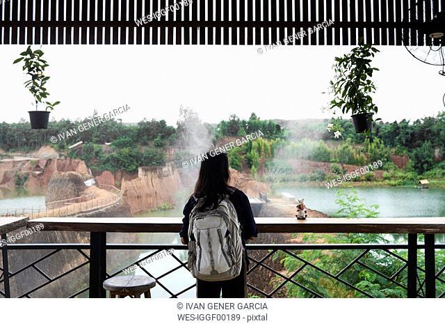 Thailand, Chiang Mai, woman enjoying the great of a grand canyon