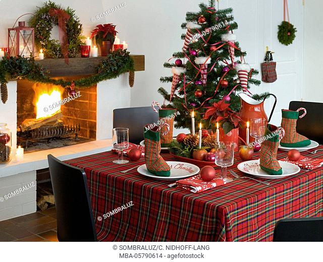 Christmas table in front of the chimney