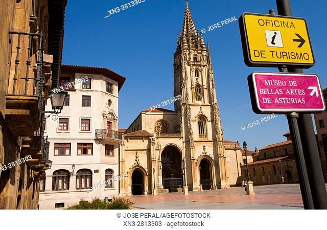Cathedral of the Holy Saviour, Catedral de San Salvador, Square Alfonso II El Casto, Oviedo, Asturias, Spain, Europe