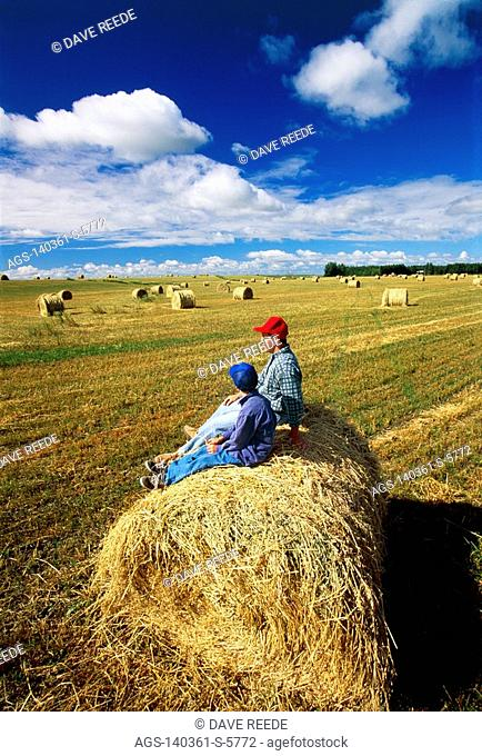 Agriculture - A farmer and his son sitting and talking on a round straw bale in the field / Winnipeg, Manitoba, Canada MR