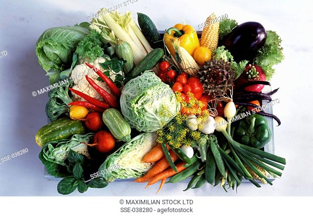composition of assorted vegetables in crate
