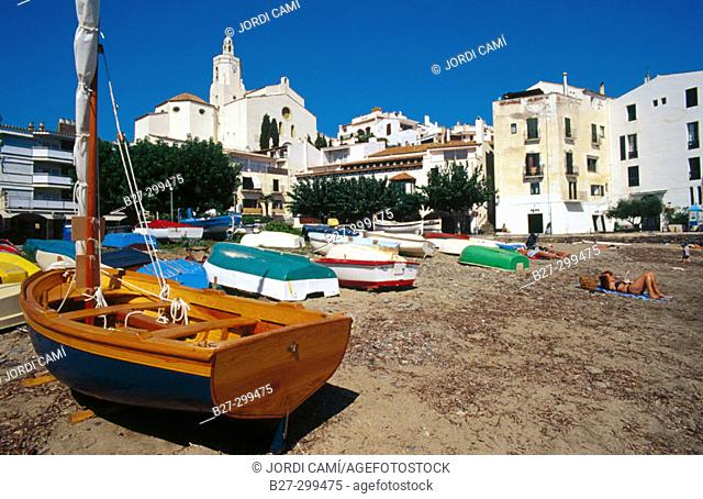 Latin sail boat in Port Alguer beach. Cadaques. Alt Emporda. Girona province. Catalonia. Spain