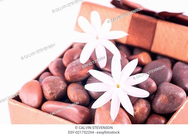 Wellness bronze gift box with red zen stones and white jasmine flowers close up