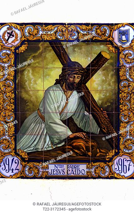 Cadiz (Spain). Mosaic of Our Lord Jesus Fallen in the historic center of the city of Cádiz