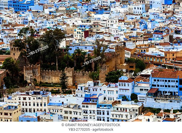 An Elevated View Of The Medina and City Of Chefchaouen, Morocco