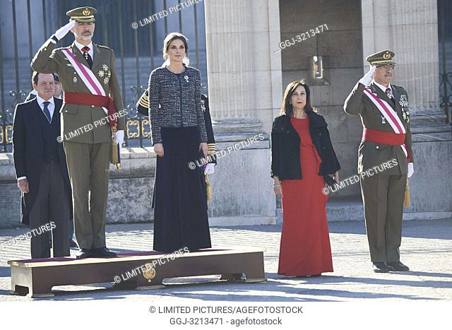 King Felipe VI of Spain, Queen Letizia of Spain attended the New Year's Military Parade at the Palacio Real on January 6, 2019 in Madrid, Spain