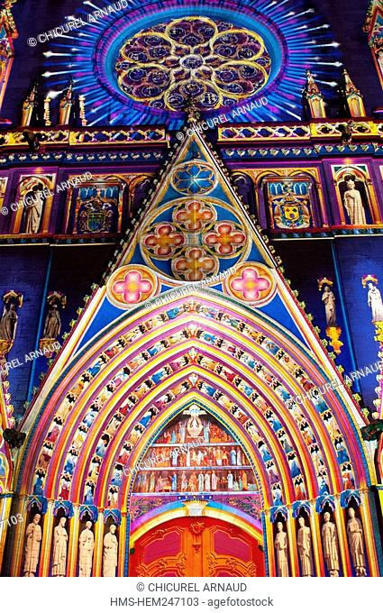 France, Rhone, Lyon, historical site listed as World Heritage by UNESCO, Fete des Lumieres Light Festival, Saint Jean Cathedral