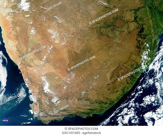 This true-color image of South Africa was acquired on May 14, 2000, by NASA. The image was produced using a combination of the sensor's 250-m and 500-m...