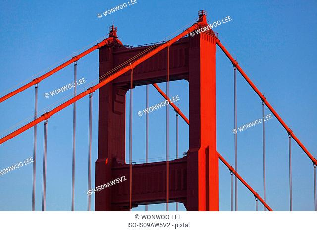 Detail of Golden Gate bridge and blue sky, San Francisco, California, USA