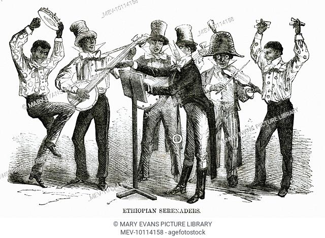 'ETHIOPIAN SERENADERS', dressed as American 'darkies', perform in the streets of London with banjo, violin, tambourine and castanets